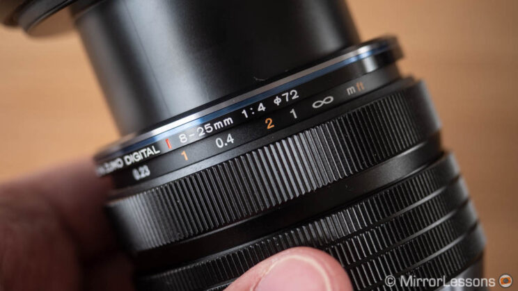 close-up on the clutched focus ring of the Olympus 8-25mm Pro