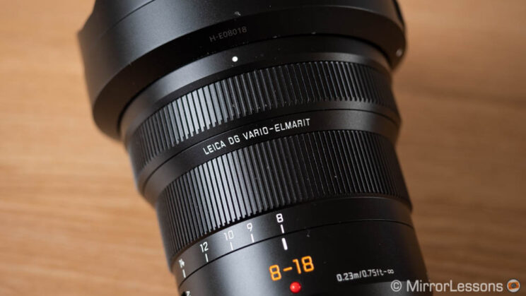 close-up on the zoom and focus ring of the Panasonic 8-18mm