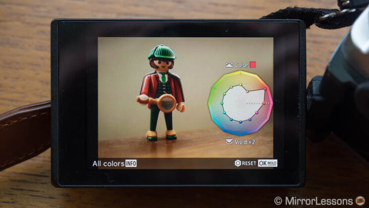 Colour Profile creator setting on the LCD screen of the Pen F camera