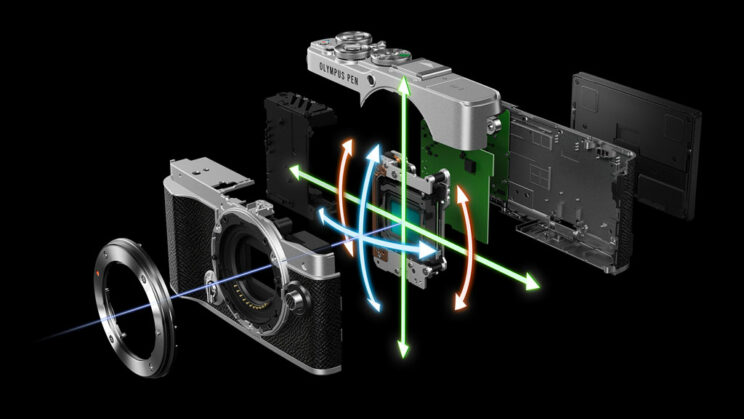 computer generated image showing various part of the E-P7 apart with the sensor and IBIS mechanism in the middle