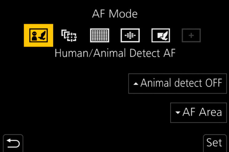 screenshot of the Lumix G9 menu showing the AF mode settings (Human / Animal Detection mode is highlighted)