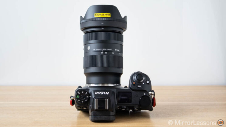 Sigma 28-70mm 2.8 attached to the Techart adapter and Nikon Z6