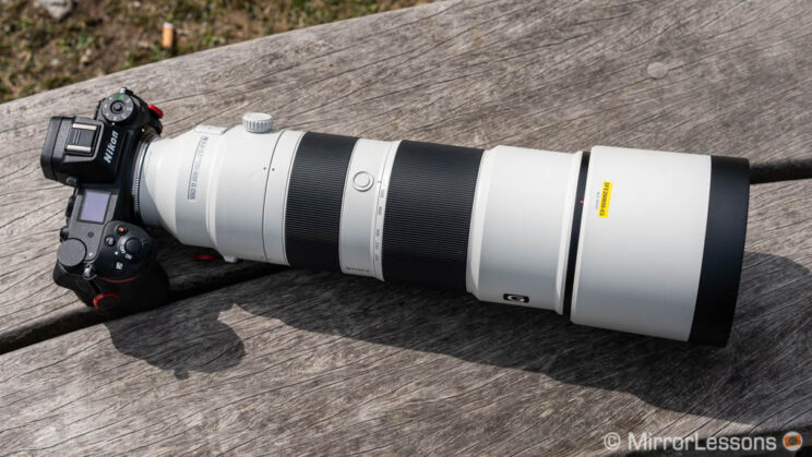 Z6, Techart TZE-01 and Sony 200-600mm lens attached, sitting on a wooden bench