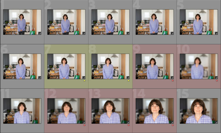 screenshot of 15 thumbnails images showing a test sequence, with four images marked red and two marked yellow