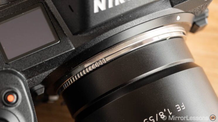 close-up on the adapter mounted on the Nikon Z6 with Sony FE 55mm attached
