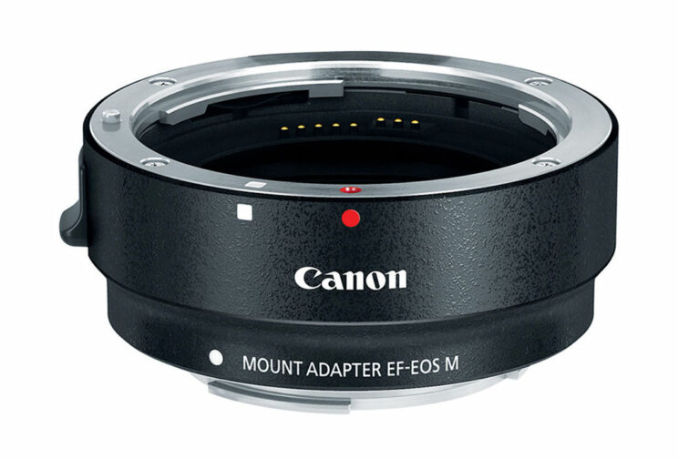 Canon EF-EOS M adapter on white background
