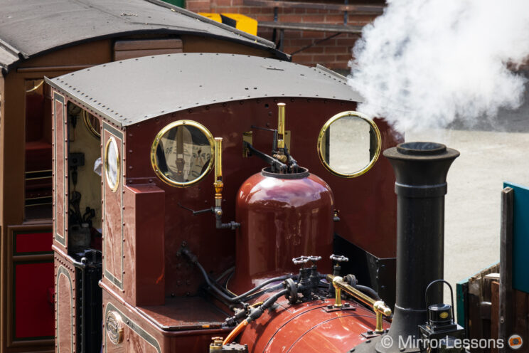 close-up on the locomotive of the steam train