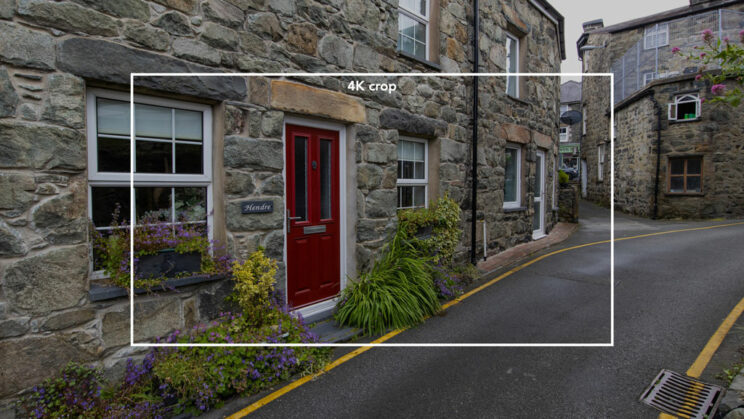 small street in a welsh town, and a bright rectangle added in post showing the area of the 4K video