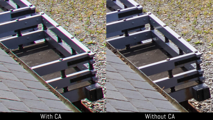 side by side enlargement of a scene showcasing the difference between having or not having chromatic aberration