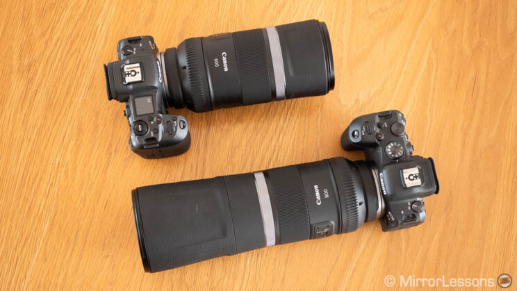 Canon R5 with 600mm F11 and R6 with 800mm F11 attached