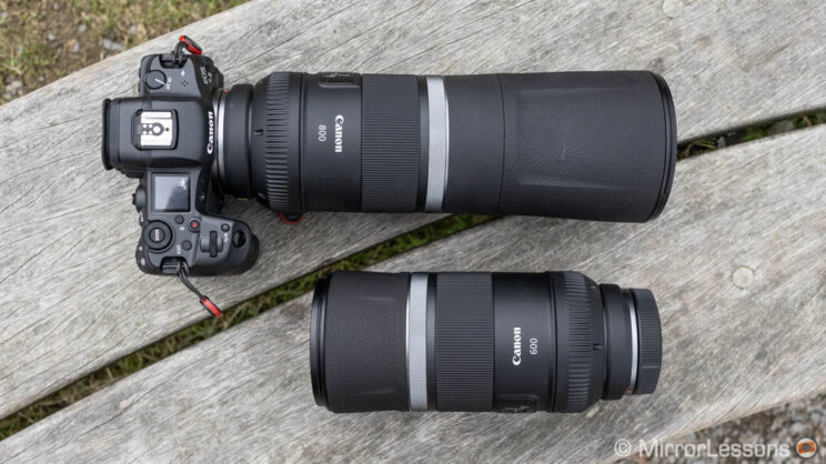 Canon Eos R5 with 800mm F11 attached and 600mm F11 sitting next to it
