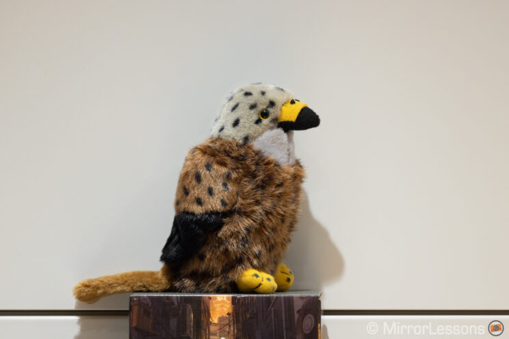 red kite stuffed toy on a white background