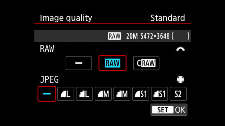 canon menu showing the RAW and JPG settings