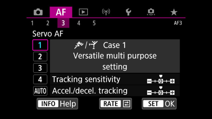 canon menu Servo AF settings