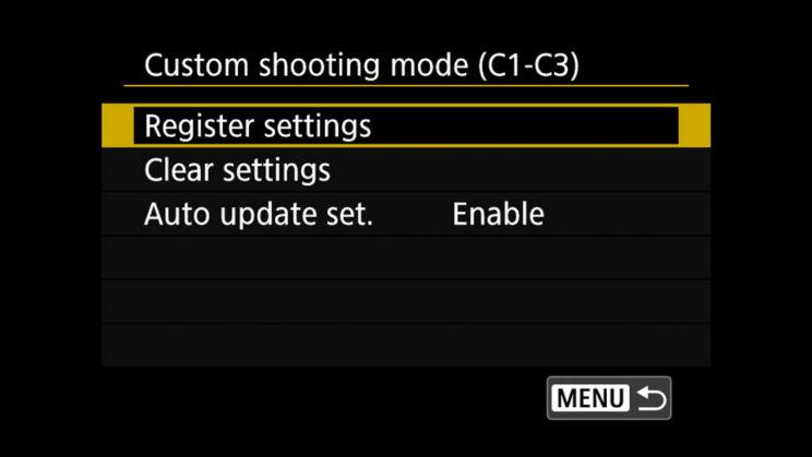canon menu Custom shooting mode settings