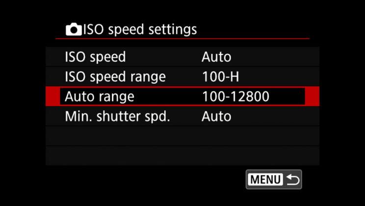 canon menu ISO speed settings