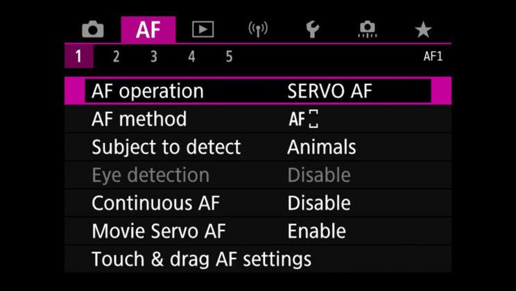 canon menu autofocus settings