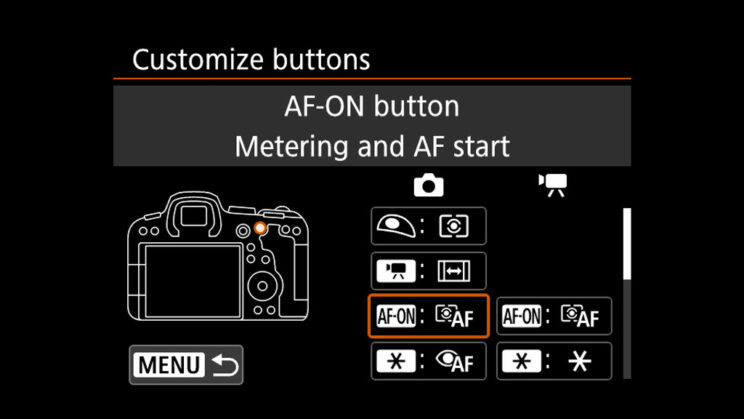 canon menu AF-ON button setting