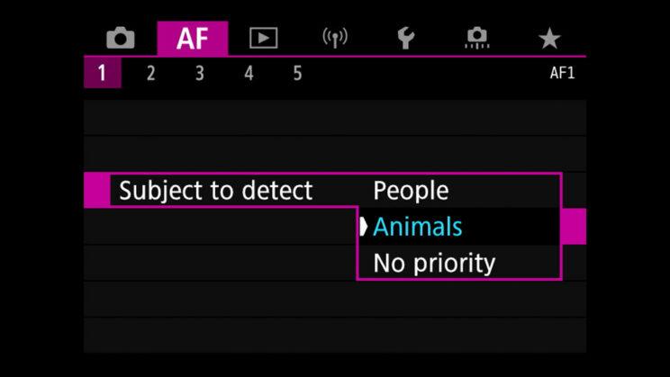 canon menu subject detection setting