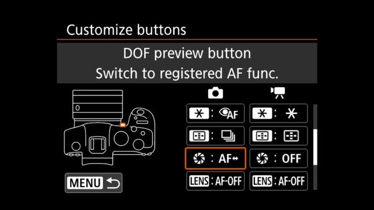 canon menu customize button settings