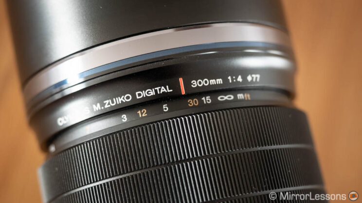 close-up on the focus ring of the Olympus 300mm Pro