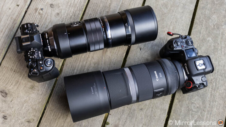 E-M1 III with 300mm F4 Pro next to the R5 with 600mm F11