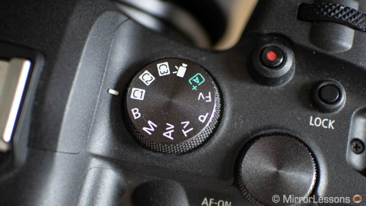 close-up on the shooting mode dial on top of the Canon R6