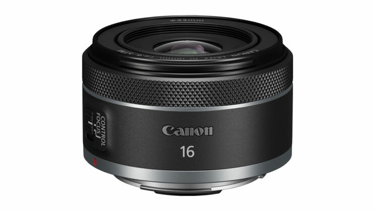 Canon RF 16mm F2.8 on white background