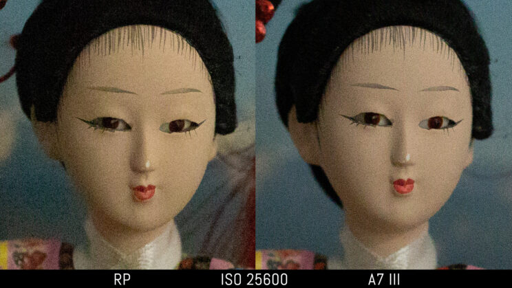 side by side image of a Japanese doll taken with the Canon RP and Sony A7 III, showing the difference in image quality and noise at ISO 25600