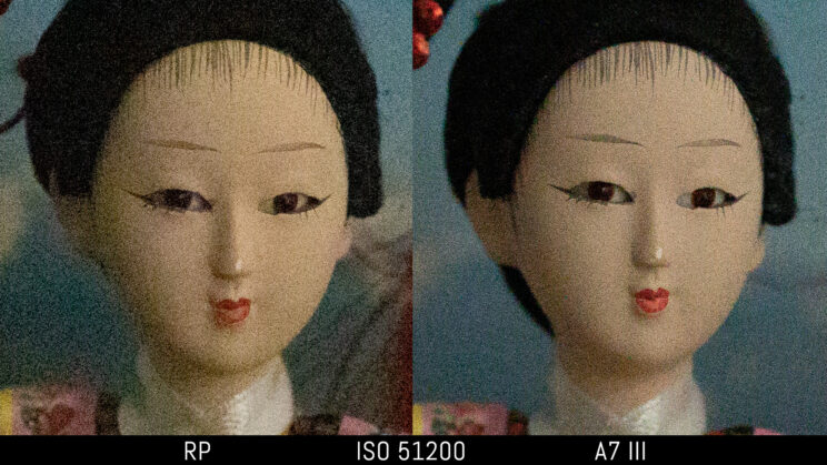side by side image of a Japanese doll taken with the Canon RP and Sony A7 III, showing the difference in image quality and noise at ISO 51200