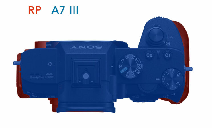 photo montage showing the difference in size between the two cameras, top view
