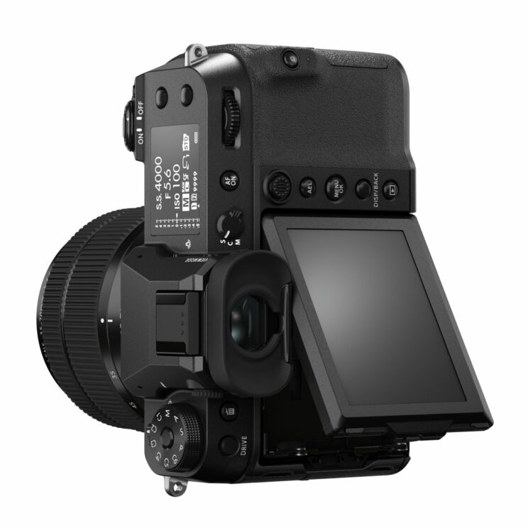GFX 50S II in vertical orientation with LCD screen tilted up, on white background