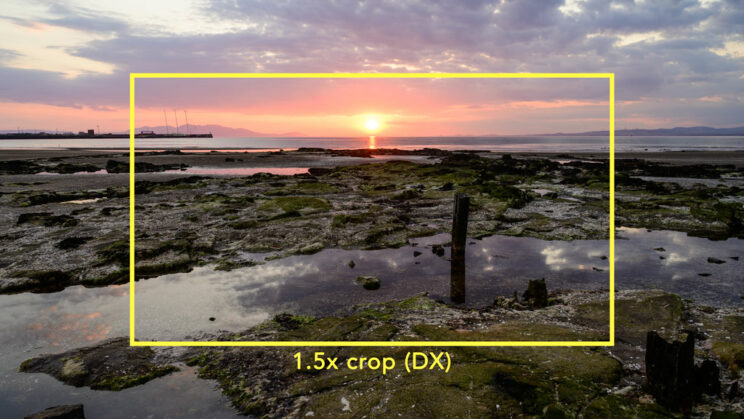 sunset on the beach, with a bright yellow rectangle showing the DX area