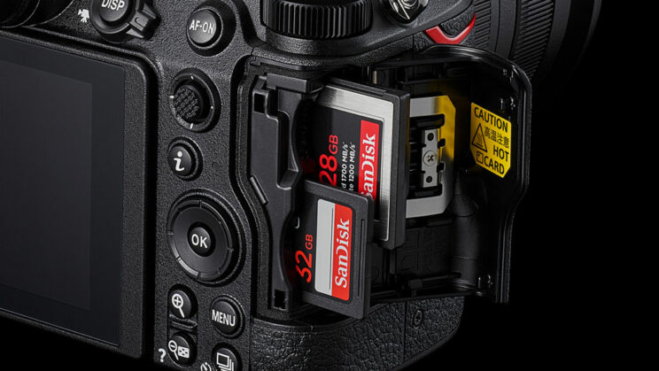 Close-up on the Nikon Z6 II dual slot, with one SD and one CFexpress cards inserted