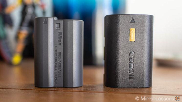 Nikon Z6 type battery next to the Canon R6 type battery