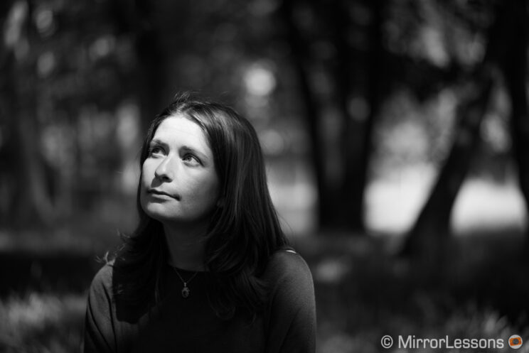 Young woman portrait in the woods, converted to black and white in post