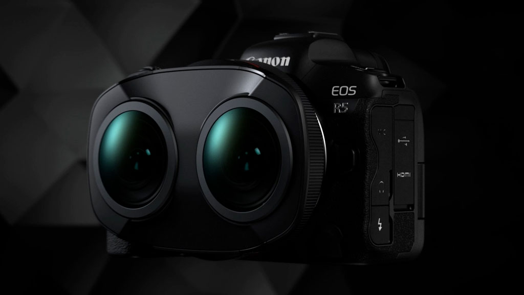 Canon RF 5.2mm dual fisheye lens attached to the Canon R5, on dark background