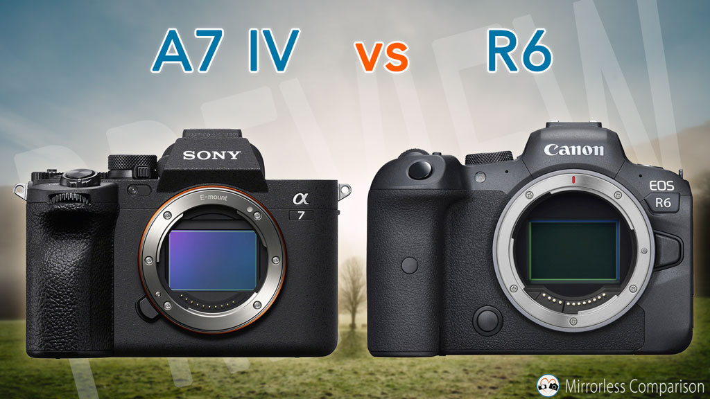 Cover image with Sony A7 IV next to R6, with title of the article on top