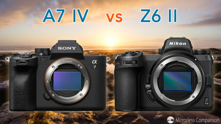 Cover image with Sony A7 IV next to Z6 II, with title of the article on top