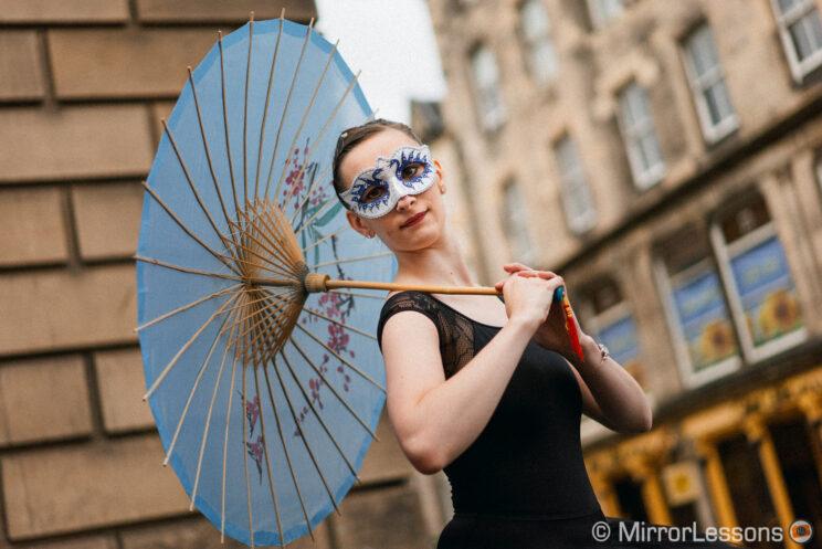 ballerina street performer posing for the camera