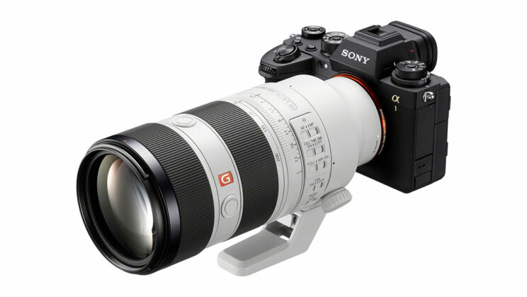 Sony FE 70-200mm F2.8 mark II attached to the A1, on white background